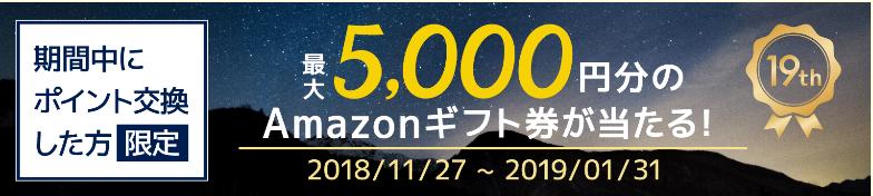 最大5,000円分のAmazonギフト券が当たる