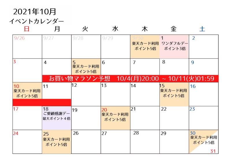 2021年10月楽天イベントカレンダー